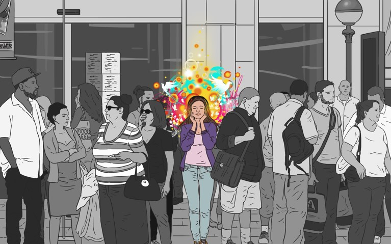 Women in busy crowd sees music in shapes and colors, chromosthesia