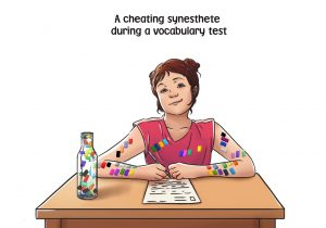 A synesthetic girl on a vocabulary test. She cheats by using the color codes of the words and the colors of the letters on her arms.