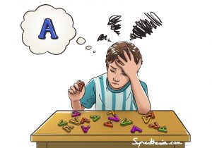 a synesthetic child seeing a lot of colored letters in front of him. He looks for letter A in blue, but all the letters are in the wrong, incongruent color.