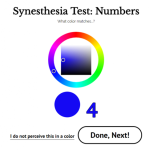Colorpicker of synesthesia Test on synesthesia.com. This test helps you to test for grapheme color synesthesia.